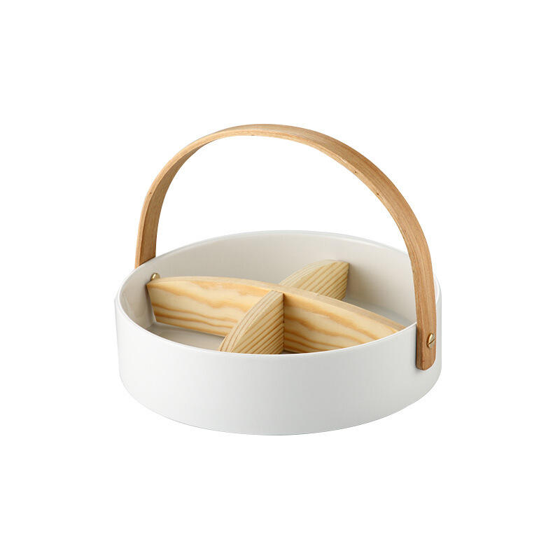 Snacks Nuts Candy Serving Divider Ceramic Basket With Wooden Handle White Baskets For Fruit Tea Time