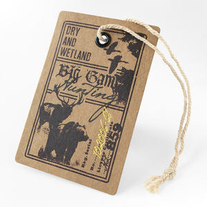 Custom Famous Brands Luxury Die Cut Recycled Kraft Garemnt Paper Hang Tag With String For European Clothing