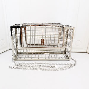 2020 hot sale metal frame hollow out silver cage purse women handbags