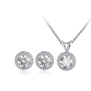 RINNTIN SS64 Earrings Necklace Jewelry Set Wholesale S925 Sterling Silver Big Cubic Zircon Necklace Set