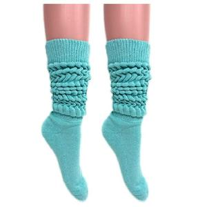 Children little girls long assorted colors scrunchy loose recycled bamboo cotton knee high thick OEM slouch socks