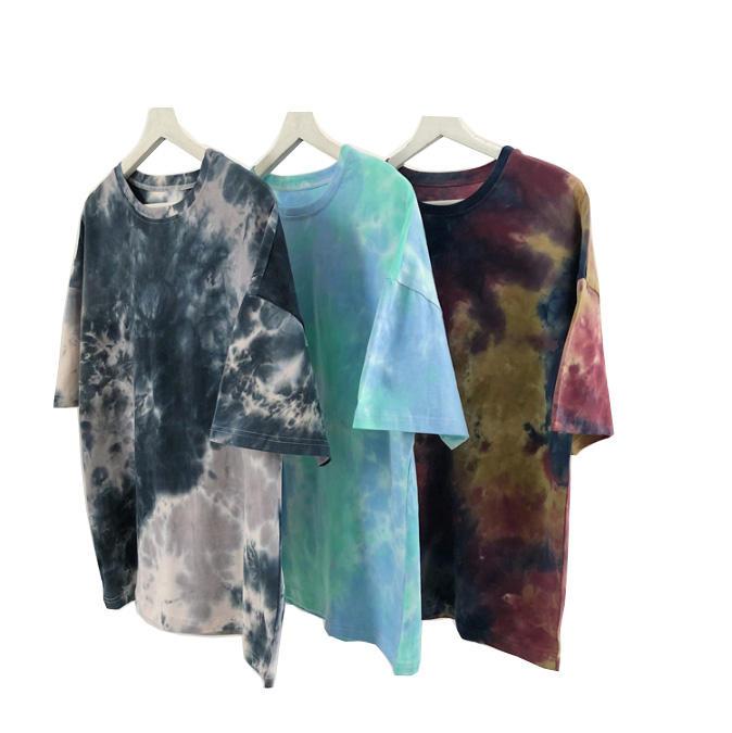 Stock Custom men's cotton short sleeved T-shirt round neck printing oversized tie dyed tshirt for unisex men tye dye tee