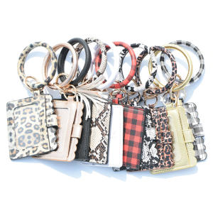 Q1278 Plaid Snake PU Leather Wristlet Keychain Bracelet with Tassel and Wallet Leopard Wrist Credit Card Key Chain Wallets
