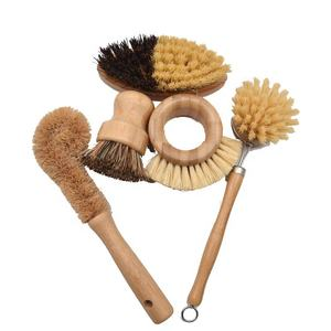 All Nature Wooden Bamboo Beech Wood Bottle Bowl Vegetable Eco Friendly Kitchen Potato Pan Dish Cleaning Brush