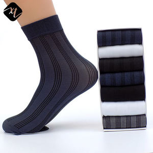 Custom organic bamboo fiber ankle socks for men black white business dress socks
