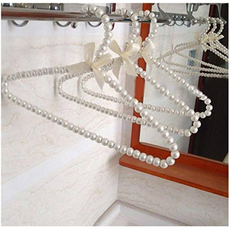 5pcs Random Color Clothes Hanger, Plastic Pearl Beaded Clothes Dress Coat Hangers