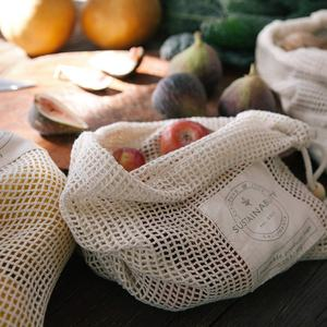 Zero Waste 100% Organic Cotton Eco Friendly Reusable Produce Mesh Bag for Fruits And Vegetable Shopping Grocery Bag Mesh Net Bag
