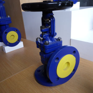 BELLOW SEALED GLOBE VALVE ANGLE TYPE FLANGE END GS-C25 MATERIAL