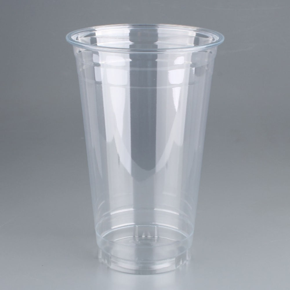 Eco friendly 16oz milk tea cold drink clear take away blister pet rpet glass disposable 500ml plastic cup with lid