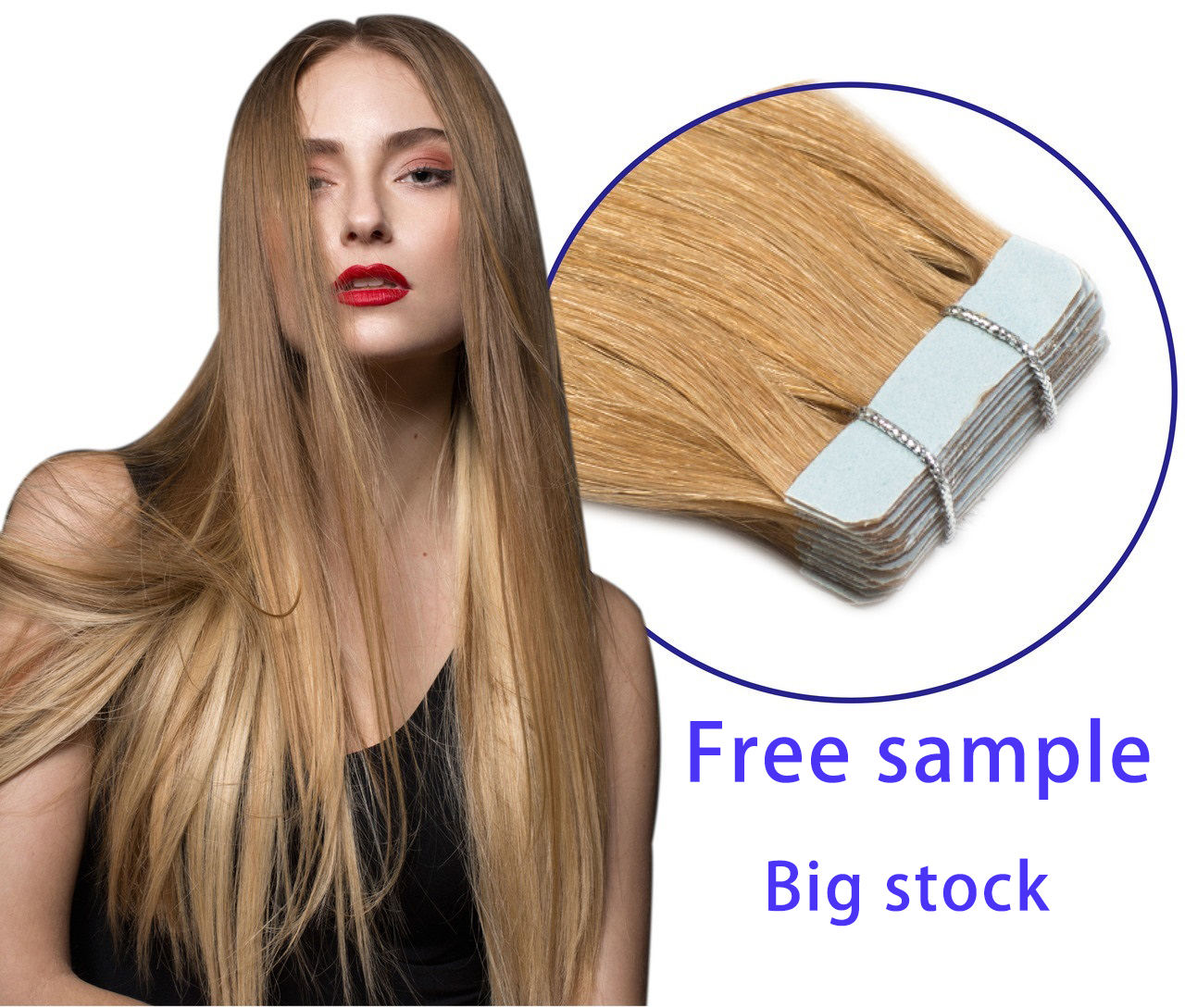 High quality remy natural 100% russian human virgin hair, drawn double ombre invisible skin weft tape in hair extensions