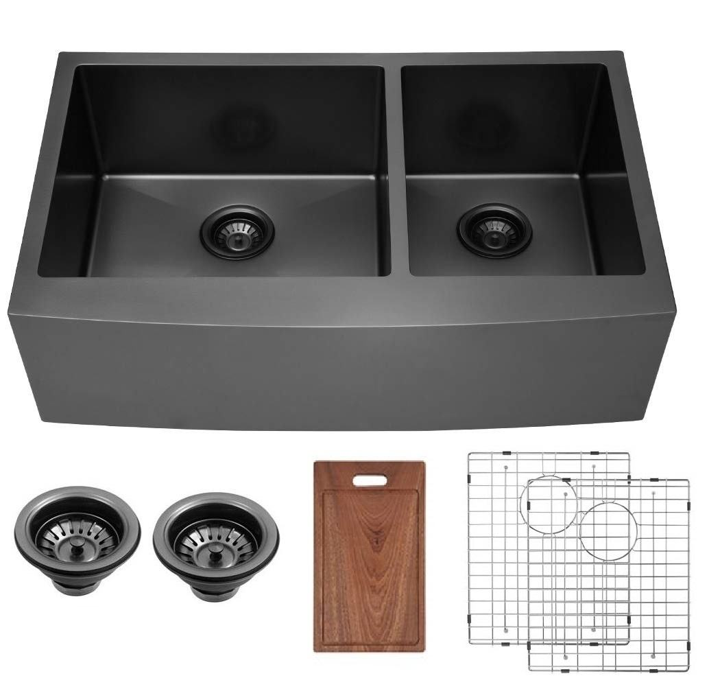 33 Inch Matte Black Apron Front Double Bowl Stainless Steel Farmhouse Sink