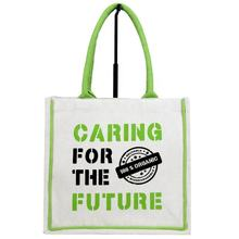 "Hand Bag with ""Caring For The Future "" Screen Printing With Green Soft Handle / Canvas Bag SA 8000-2014 Certified India made"