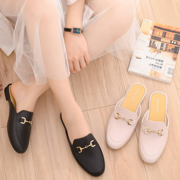 mules wholesale women slides outdoor letter metal buckle diamond jewelry flats slippers sandals and shoes for ladies