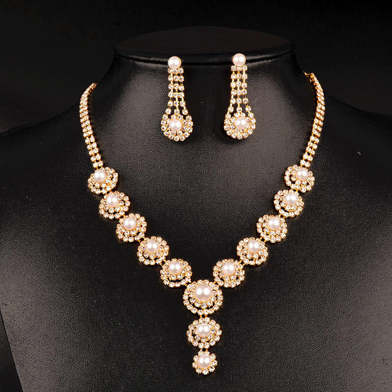 New design wholesale american diamond jewelry 24k gold round big pearl jewelry set RS35