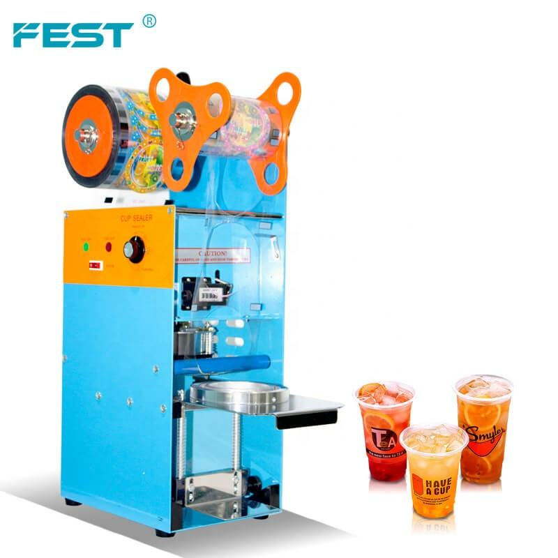 Custom milk tea cup sealing machine 220 voltz semi-auto bottle cup sealing machine with logo