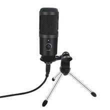 Metal USB Microphone Condenser Recording Microphone Wired Mic with Stand for Computer Laptop PC Karaoke Studio Recording