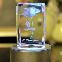 MH-FT0024 2016 Hot Selling Christmas Gifts Crystal Cube 3D Laser Engraving Rose Fancy Birthday Gift