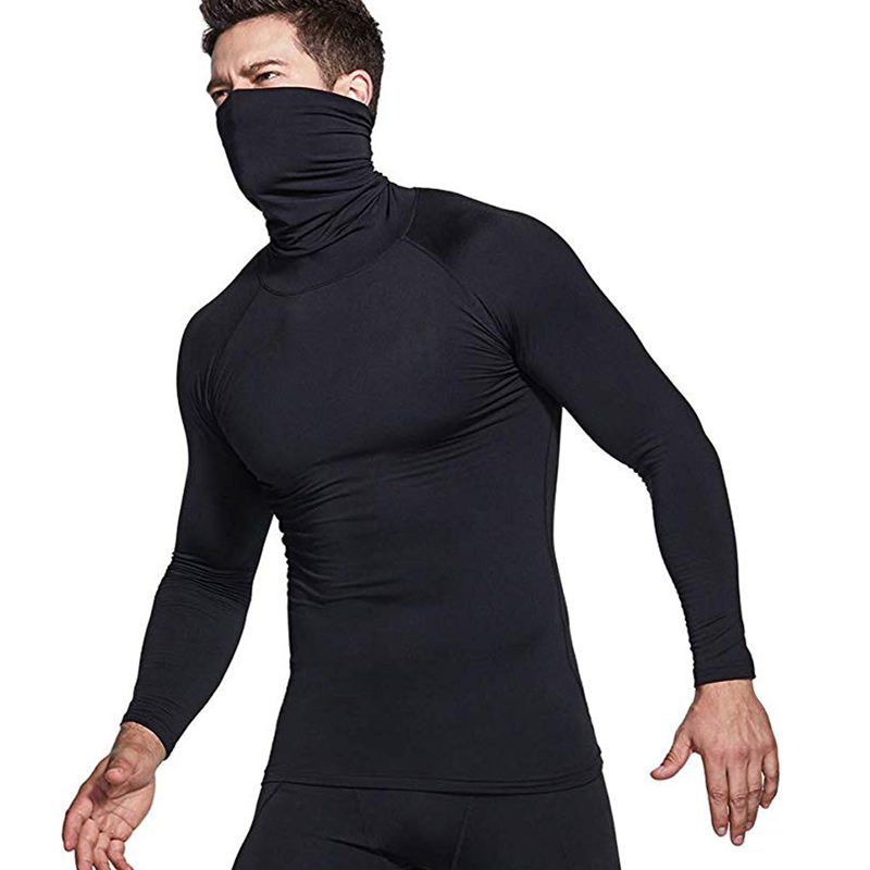 Men's Thermal Wintergear Compression Baselayer Mock Long Sleeve Shirt cycling t-shirt stylish men shirts high collar tshirts