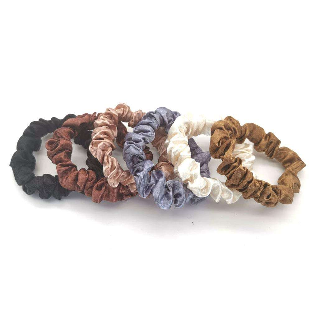 Elastic Hair Ties 100% Mulberry Silk Scrunchies Premium Natural Real Silk Small Scrunchy