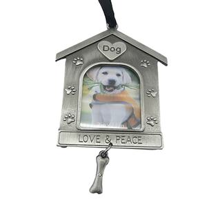 Hot Sell Dog House Shaped Photo Frame Metal Christmas Ornaments