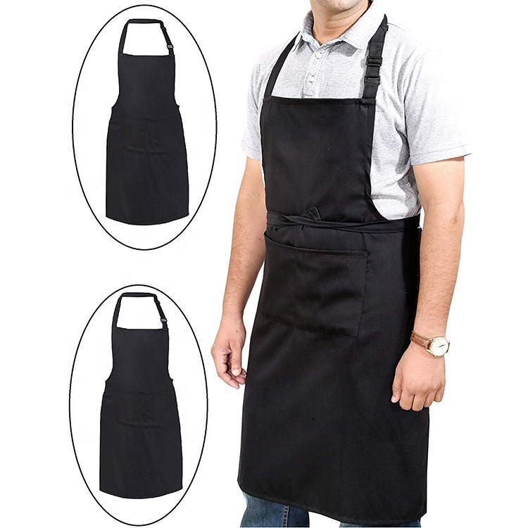 Promotional Customized Polyester Cotton Men Garden Apron Pocket Chef Cooking Kitchen Apron For Man