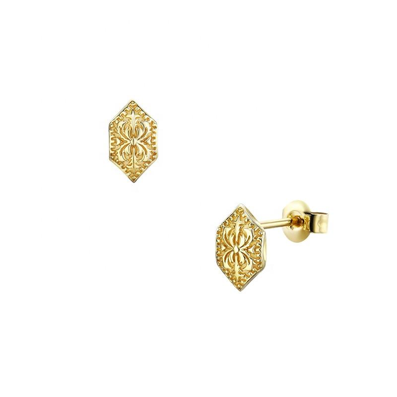 Genuine Solid 9K Yellow Gold Jewelry Vintage Sign Small Stud Earrings For Girls Online Order Fast Shipping
