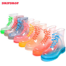 ladies transparent jelly pvc ankle rain shoes for women