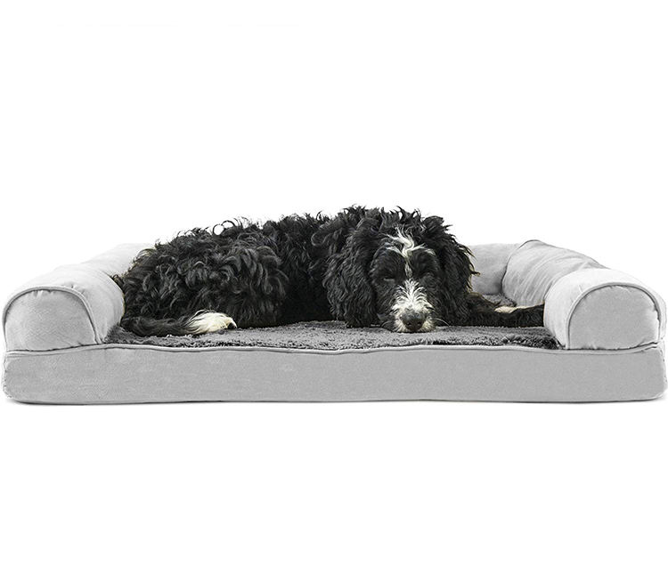 Multi Color Orthopedic Plush Faux Fur Suede Sofa Style Traditional Living Room Couch Pet Dog Bed for Small Dogs and Cats