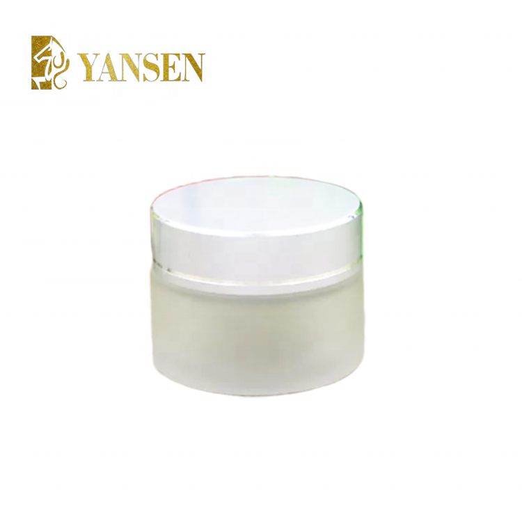 Wholesale face cream use 100g frosted glass cream jar with aluminum lid - different colour lid to choose
