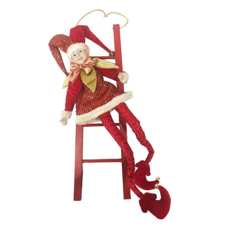 Оптовая цена новый дизайн красный Рождественский <span class=keywords><strong>эльф</strong></span> на полке кукла с санями