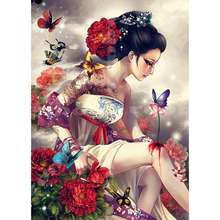 S-114 Chinese Handpainted Custom Girl Wall Art Vivid Pictures on Wood