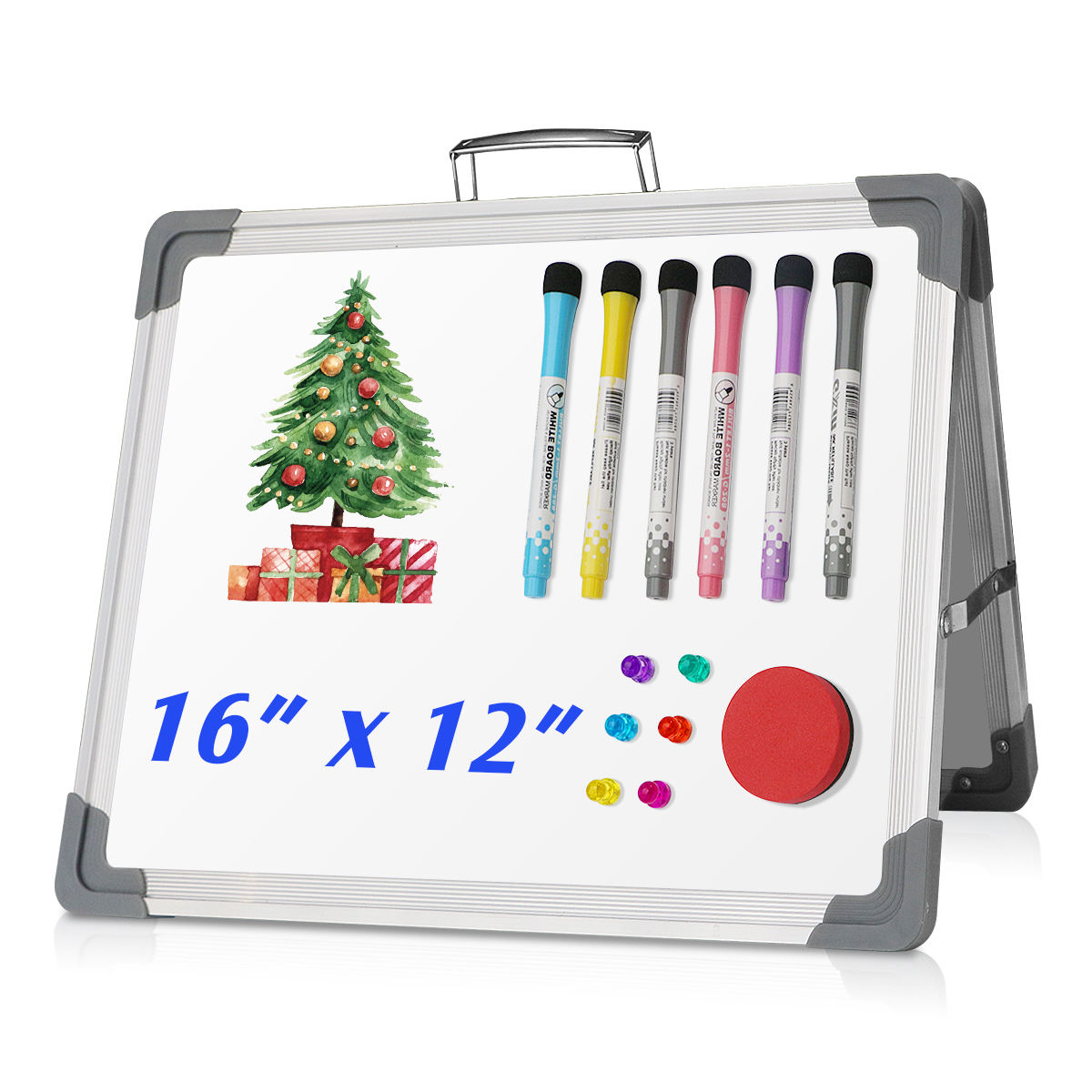 360 Degree Desktop Portable Mini Small Dry Erase Board Whiteboard for Kids Office Home School Double Side Magnetic White board