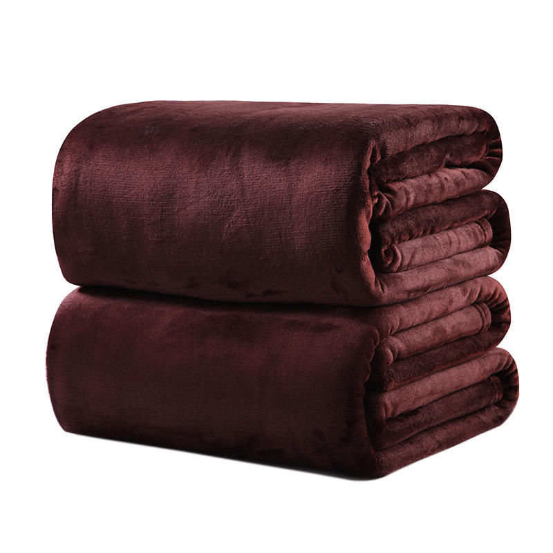 2020 Factory Price 100% Polyester Super Soft Multi Size Solid Color Accept Customized Outdoor Flannel Blanket