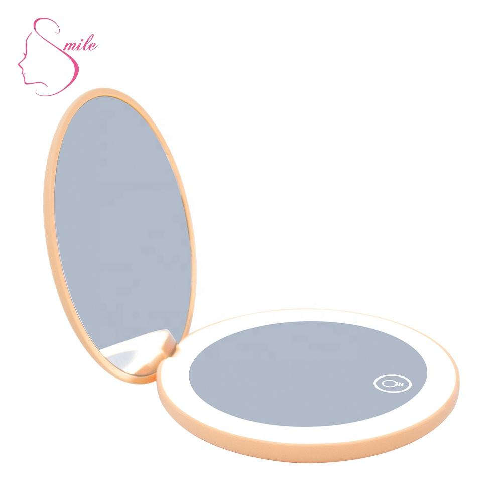 Mini LED Compact Pocket Makeup Vanity Rechargeable Cosmetic Round Magnifying Mirror with Light Micro USB type C