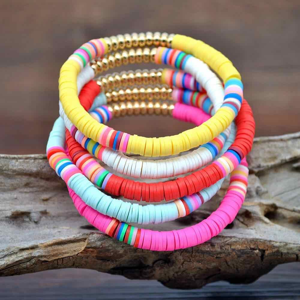 5pcs set Hot Selling Colorful Polymer Clay Crystal Beaded Bracelets For Girls Jewelry