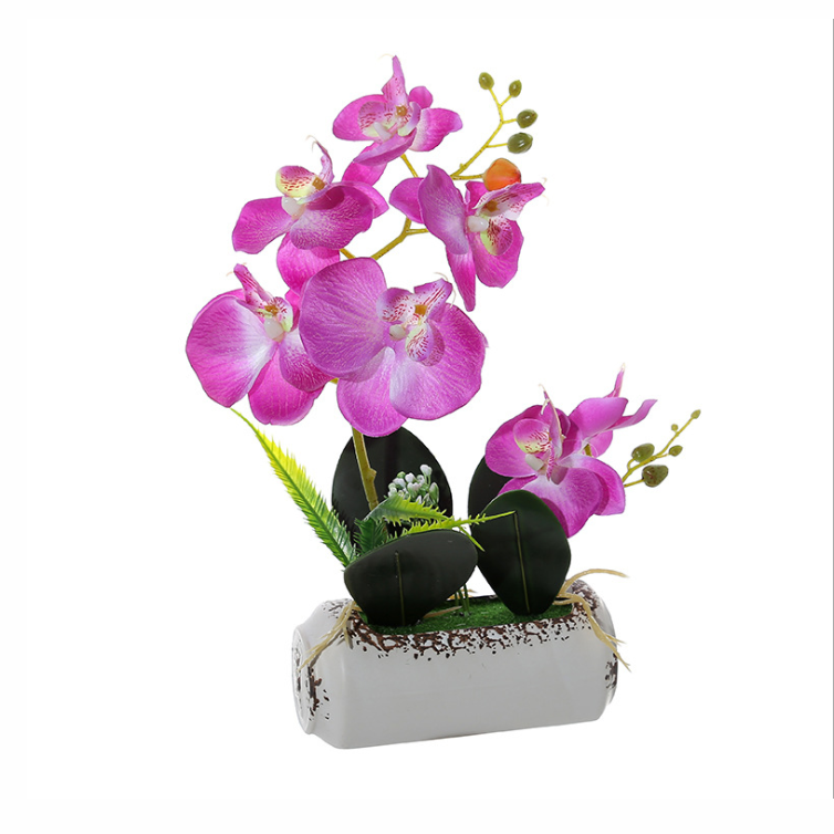 Stem Silk Flower Decoration White Blue Artificial Orchid Bonsai