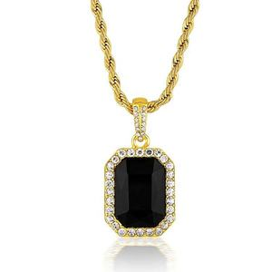 Women Gold Square Pendant Necklace With Gemstone Black Stone Necklace
