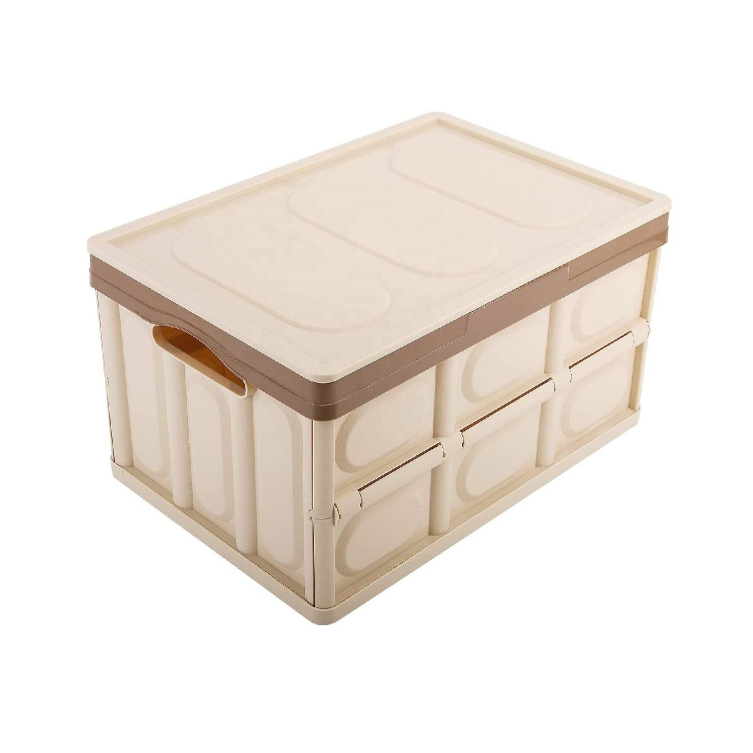 Durable Plastic Folding 30L Collapsible Storage Bin Container Storage Box with Attached Lid