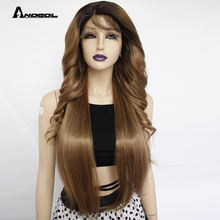 Anogol Factory  Light  Brown Ombre Dark Roots Lace Front Wigs with baby hair Pre Plucked for Women Long Body Wave Straight Wig