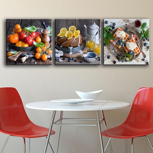 Fruits Aliments Affiches 3 Pièces/ensemble Impression Peinture Cuisine Maison Décoration Mur Photos Pour Salle à manger