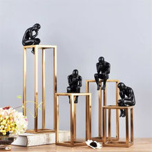 Table Abstract Industrial Interior Gold Metal Art Sculpture Office Home Decoration