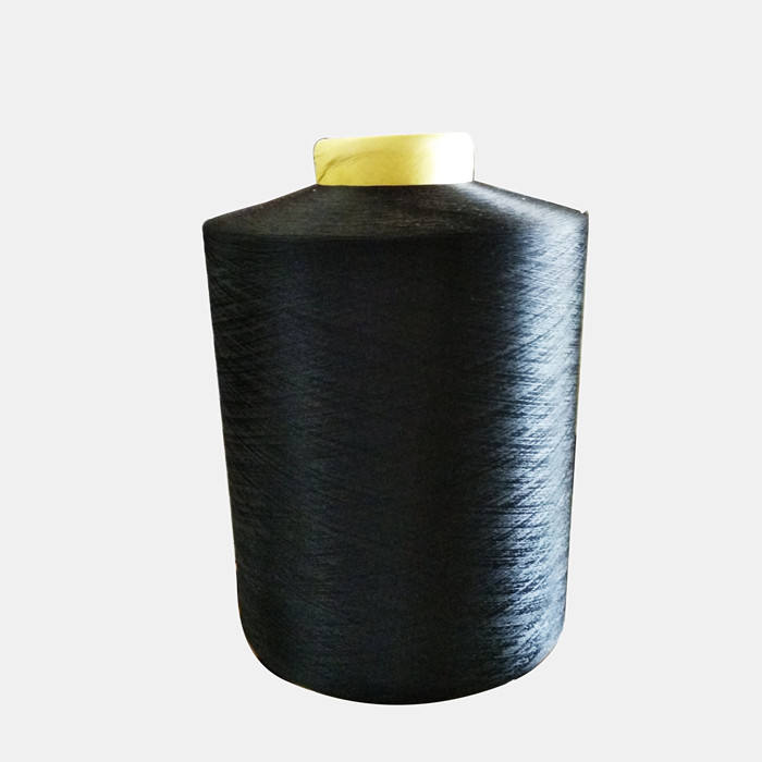 Factory 100% polyester PET bottle grs certificate recycle yarn dope dyed black for woven label