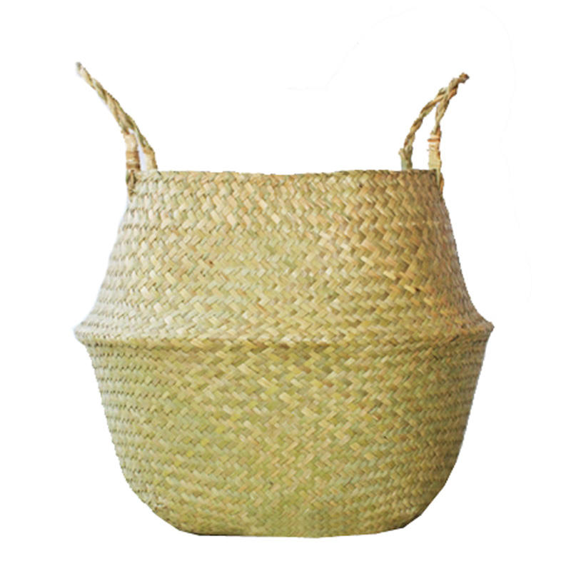 OXGIFT Wholesale foldable round woven seagrass belly storage basket