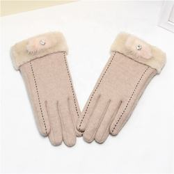 Winter warm plus velvet comfortable beige wool gloves fake h