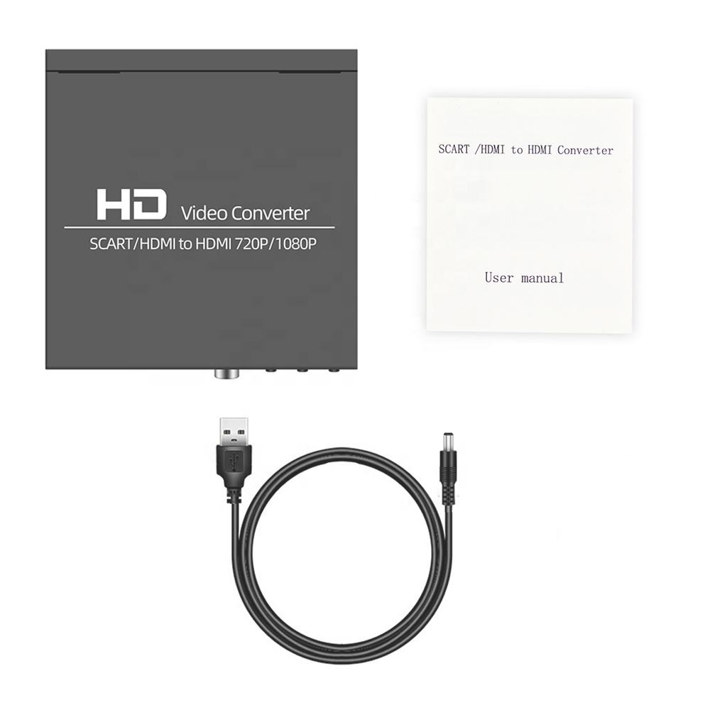 AOEYOO SCART /<span class=keywords><strong>HDMI</strong></span> zu <span class=keywords><strong>HDMI</strong></span> <span class=keywords><strong>Konverter</strong></span> Video Audio Adapter Box mit SCART/HD Schalter, PAL/NTSC Video Scaler, 1080P/720P Metall