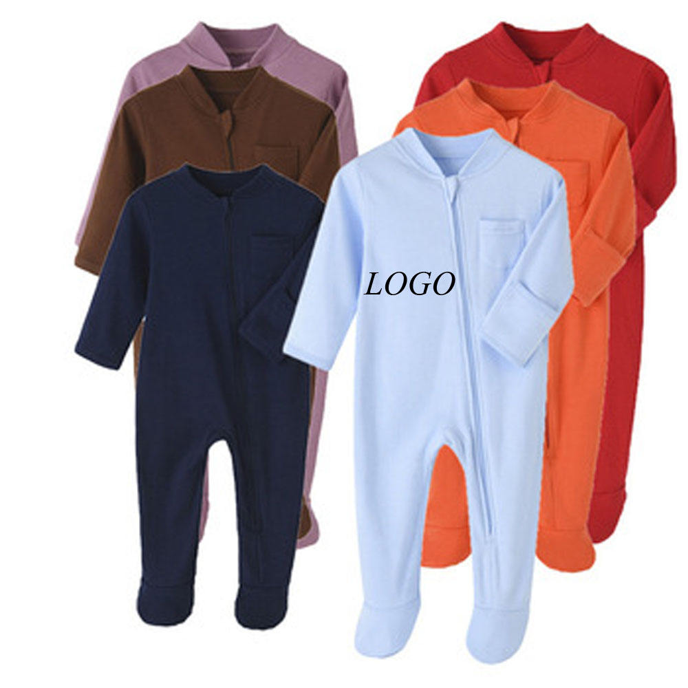 custom baby zipper onsie clothes Cotton baby basic jewlery knit pants Ribbed Front Zip Newborn Boy girl bodysuit Romper