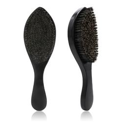 Luxurious Black Glossy Wooden Medium Soft Curve 360 Wave Brush with 100% Boar Bristle