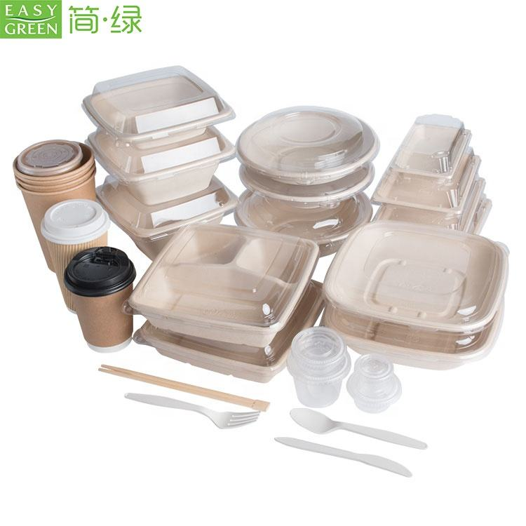 Easy Green Hot Selling Eco-friendly Compostable Sugarcane Pulp Dinnerware Set