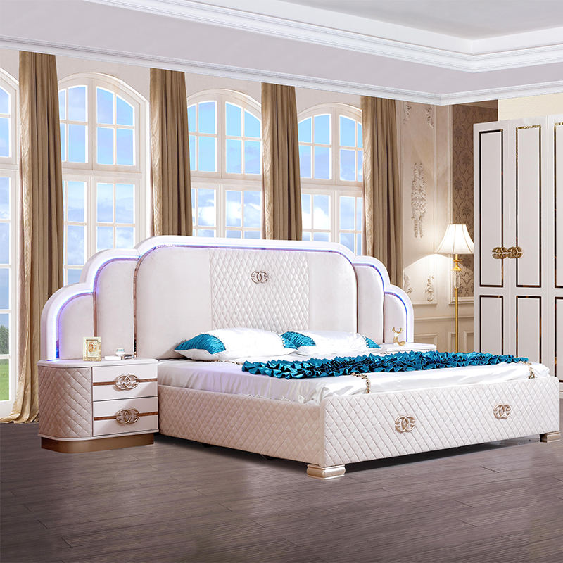 latest modern hotel bedroom furniture set king size bed set with sliding wardrobe and make up table 5 pieces set for home