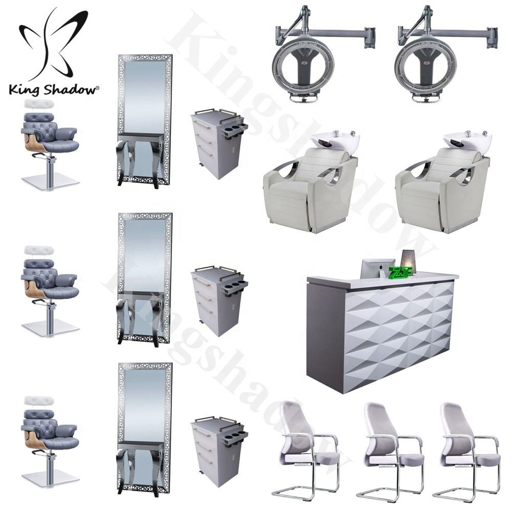 Barber salon station furniture double sided hair salon styling mirror station chair hairdressing mirrors stations